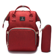 Load image into Gallery viewer, Designer Baby Diaper Backpack with USB charging Wine Red Diaper Bags zelnaga.myshopify.com AllAboutBB AllAboutBB