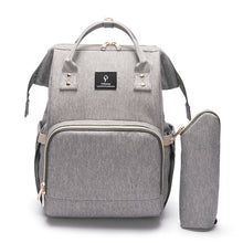 Load image into Gallery viewer, Designer Baby Diaper Backpack with USB charging Grey Diaper Bags zelnaga.myshopify.com AllAboutBB AllAboutBB