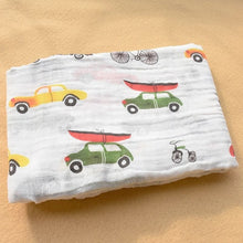 Load image into Gallery viewer, Cotton Muslin Baby Blanket Swaddle Cars Swaddle zelnaga.myshopify.com AllAboutBB AllAboutBB