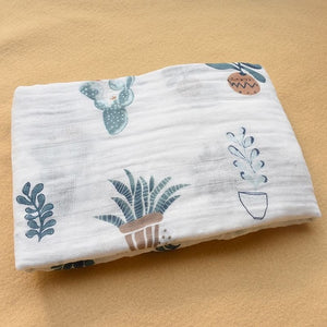 Cotton Muslin Baby Blanket Swaddle Cactus Swaddle zelnaga.myshopify.com AllAboutBB AllAboutBB