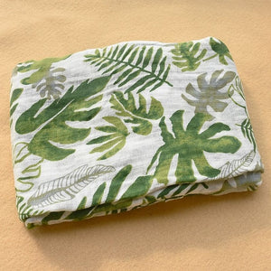Cotton Muslin Baby Blanket Swaddle Green Leaves Swaddle zelnaga.myshopify.com AllAboutBB AllAboutBB