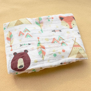 Cotton Muslin Baby Blanket Swaddle Bear Fox Swaddle zelnaga.myshopify.com AllAboutBB AllAboutBB