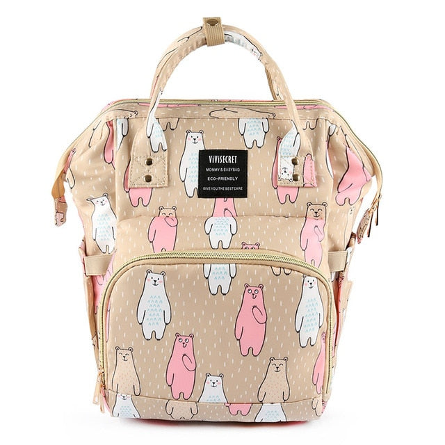 Baby Diaper Backpack Beige Bears Diaper Bags zelnaga.myshopify.com AllAboutBB AllAboutBB