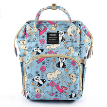 Load image into Gallery viewer, Baby Diaper Backpack Blue Pandas Rhinos Diaper Bags zelnaga.myshopify.com AllAboutBB AllAboutBB