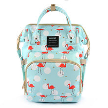 Load image into Gallery viewer, Cute Baby Diaper Backpack Teal Flamingoes Diaper Bags zelnaga.myshopify.com AllAboutBB AllAboutBB