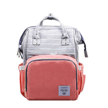 Load image into Gallery viewer, Cute Baby Diaper Backpack Grey Top Pink Bottom Diaper Bags zelnaga.myshopify.com AllAboutBB AllAboutBB