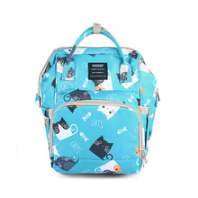 Load image into Gallery viewer, Cute Baby Diaper Backpack Blue Kittens Diaper Bags zelnaga.myshopify.com AllAboutBB AllAboutBB