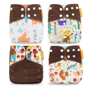 Brown Safari Waterproof and Reusable Infant Cloth Diaper (4pcs/set) Default Title Diapers zelnaga.myshopify.com AllAboutBB AllAboutBB