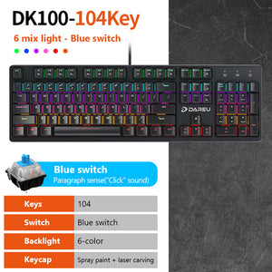 Mechanical Gaming Keyboards 87/104 keys Blue/Black Switch