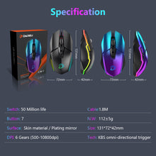 Load image into Gallery viewer, DAREU 10800 DPI Optical Sensor Gaming Mouse