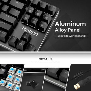 Mechanical Gaming Keyboard 87 Keys-Hcman H02
