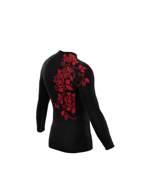 Red Rose Mens Long Sleeve Rashvest