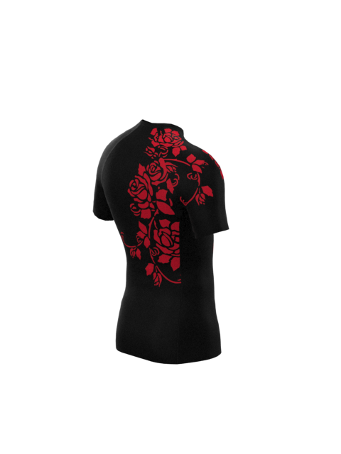 Red Rose Mens Short Sleeve Rashvest