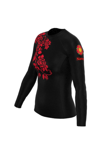 Red Rose Womens Long Sleeve Rashvest
