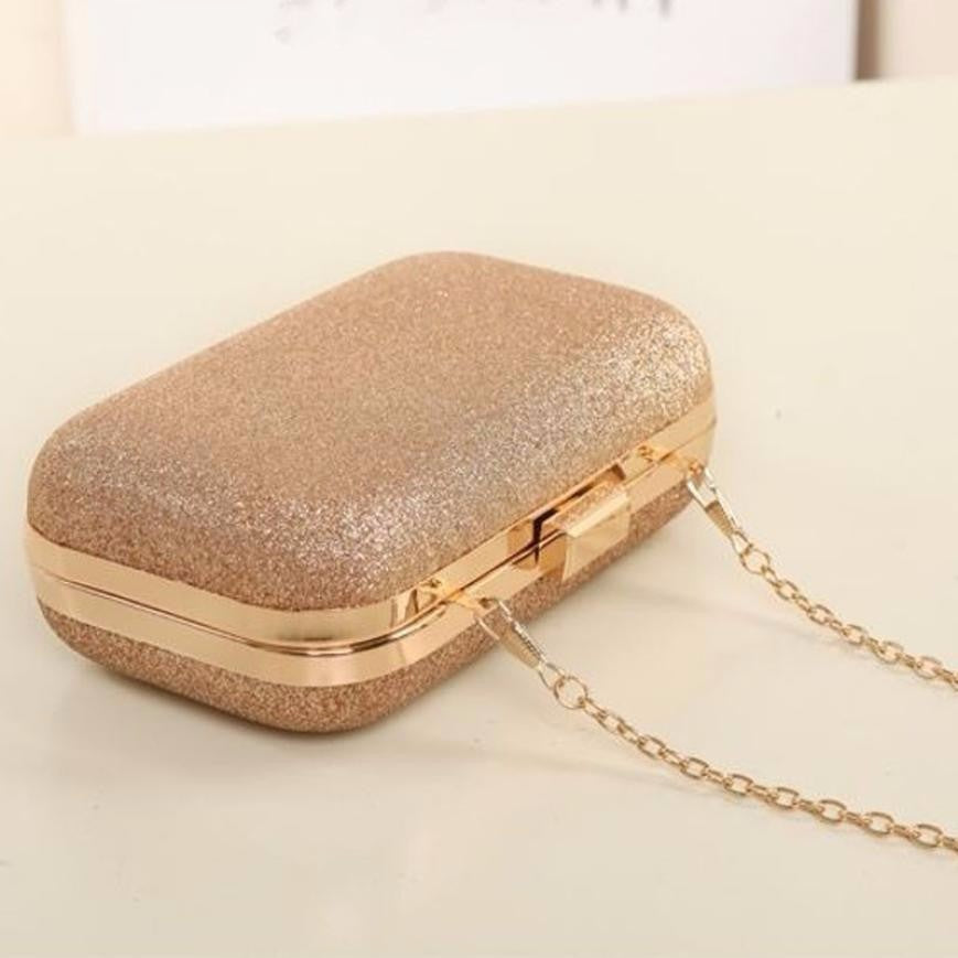 Color Hot Pink Women Glitter Chain Handbag Coin Purse Clutch Box Evening Party Hand Bags Wallet Best for Cards for Credit Cards for Gift