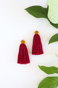 The Carolina Tassel Earring in Plum and Marigold
