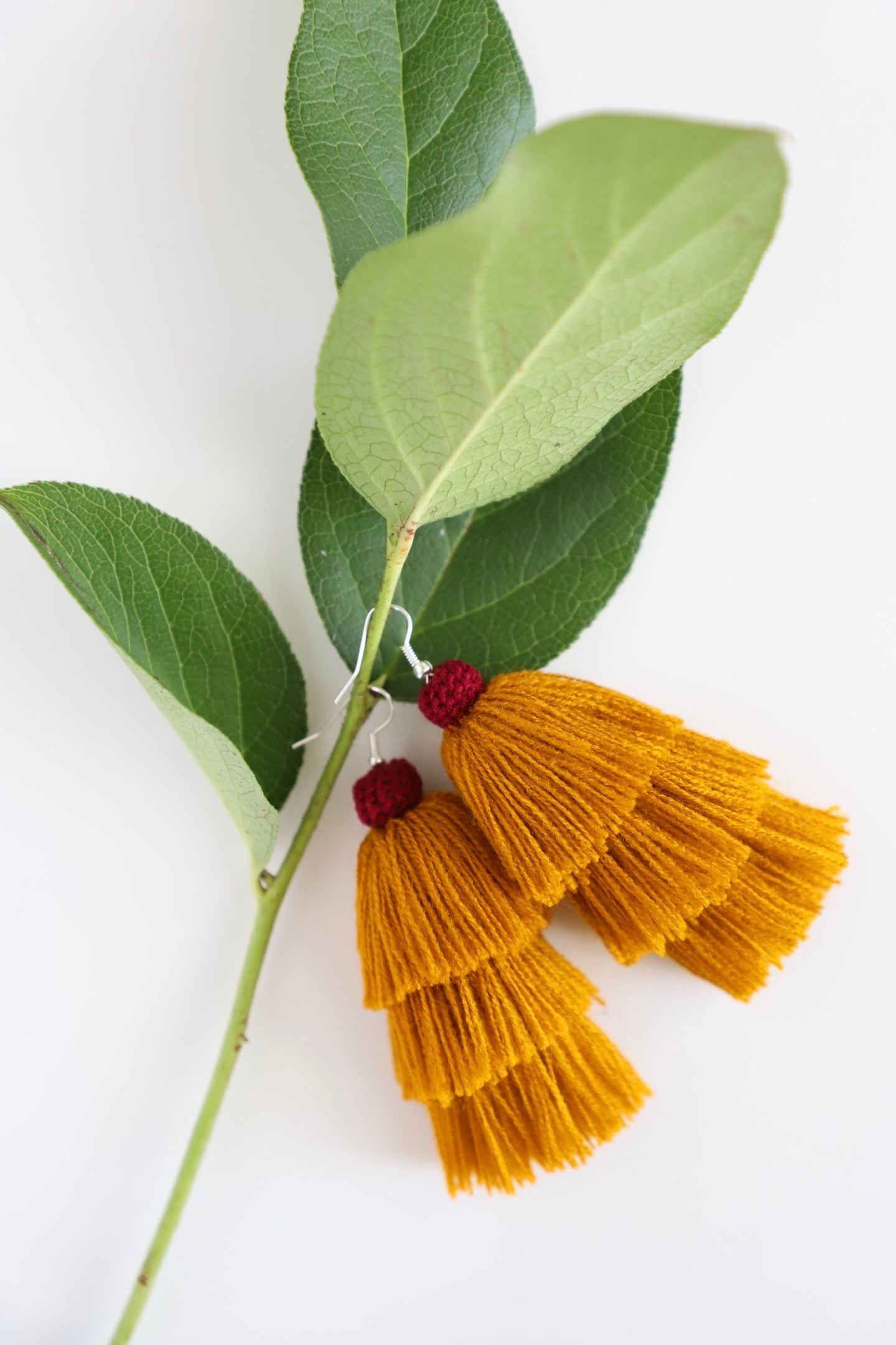 The Carolina Layered-Tassel Earring in Marigold and Plum