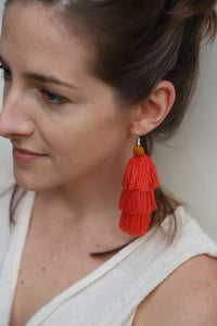 The Carolina Layered-Tassel Earring in Coral and Marigold