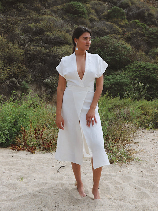 Maria Linen Dress in Paloma White