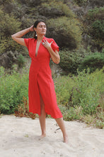 Load image into Gallery viewer, Maria Linen Dress in Carmen Red