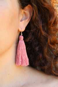 Carolina Tassel Earring in Rose (Silk)