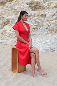 Maria Linen Dress in Carmen Red