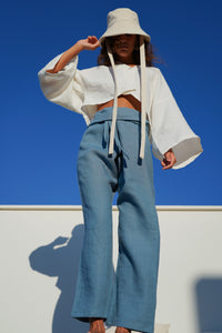 Ana Linen Pants in Cala Blue | Unisex