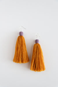 The Carolina Tassel Earring in Marigold and Lavender