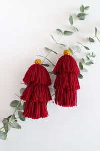 The Carolina Layered-Tassel Earring in Plum and Marigold