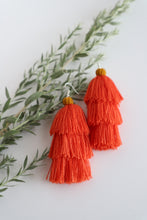 Load image into Gallery viewer, The Carolina Layered-Tassel Earring in Coral and Marigold