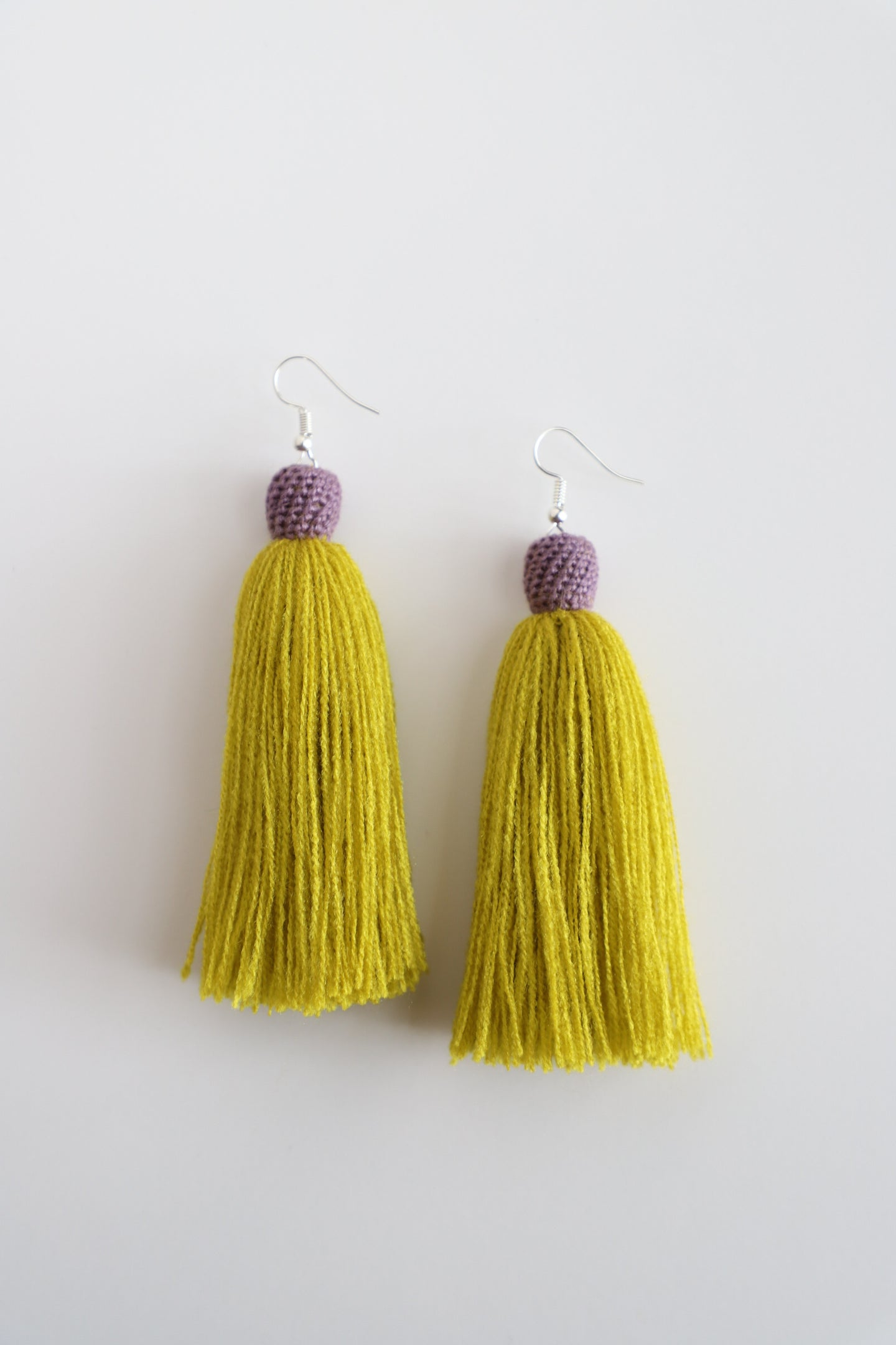 The Carolina Tassel Earring in Canary and Lavender
