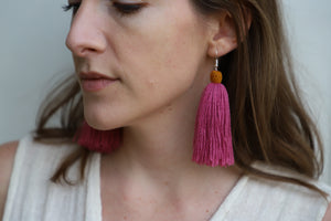The Carolina Tassel Earring in Amora and Marigold