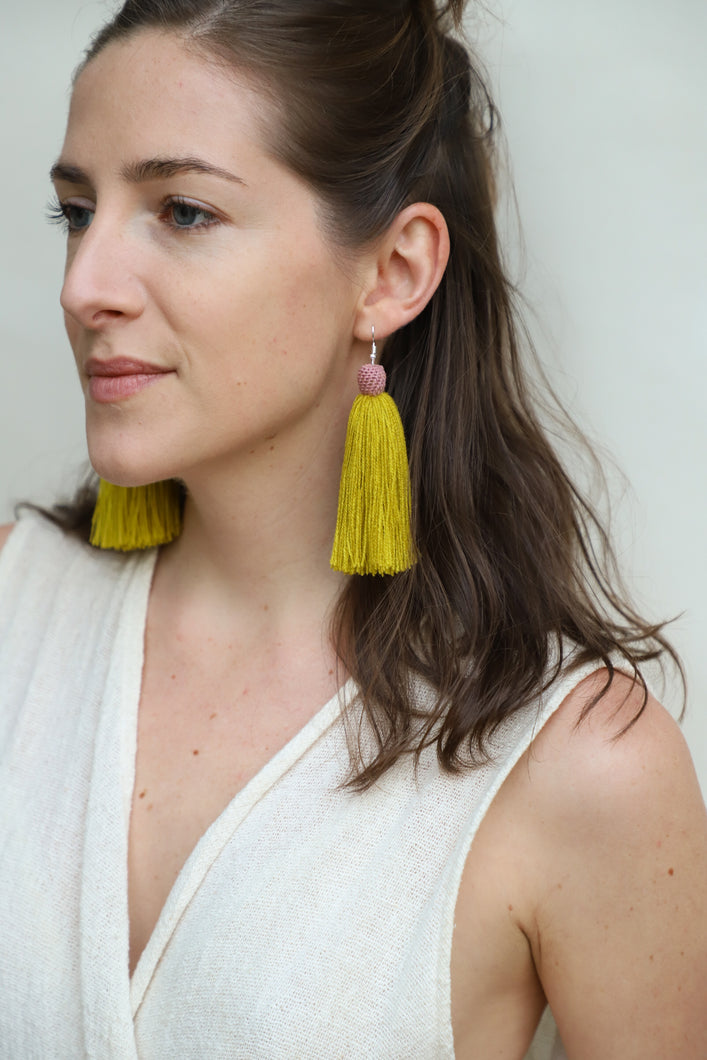 The Carolina Tassel Earring in Canary and Rose