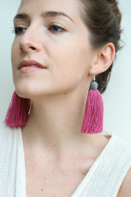 The Carolina Tassel Earring in Amora and Coastline