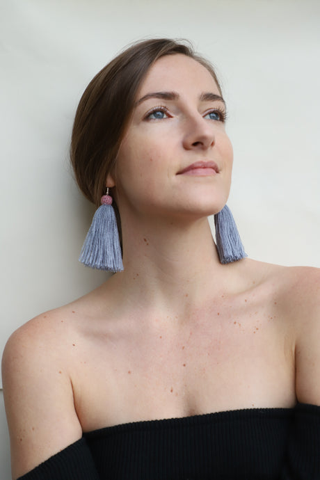 The Carolina Tassel Earring in Coastline and Rose