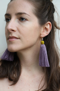 The Carolina Tassel Earring in Lavender and Canary