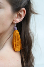 Load image into Gallery viewer, The Carolina Tassel Earring in Marigold and Lavender
