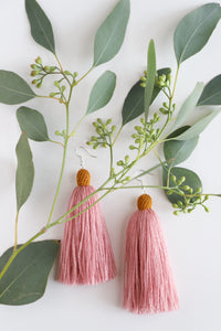 The Carolina Tassel Earring in Rose and Marigold