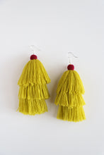 Load image into Gallery viewer, The Carolina Layered-Tassel Earring in Canary and Plum