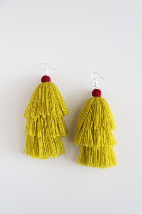 The Carolina Layered-Tassel Earring in Canary and Plum