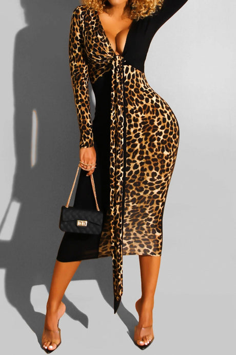 Leopard Tie Dress - Brown