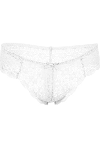 Floral lace opening lace thong panty