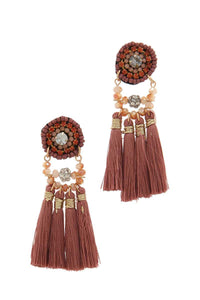 Beaded tassel drop earring