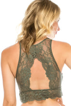 Load image into Gallery viewer, Ladies fashion floral lace high-neck bralette racerback w/keyhole