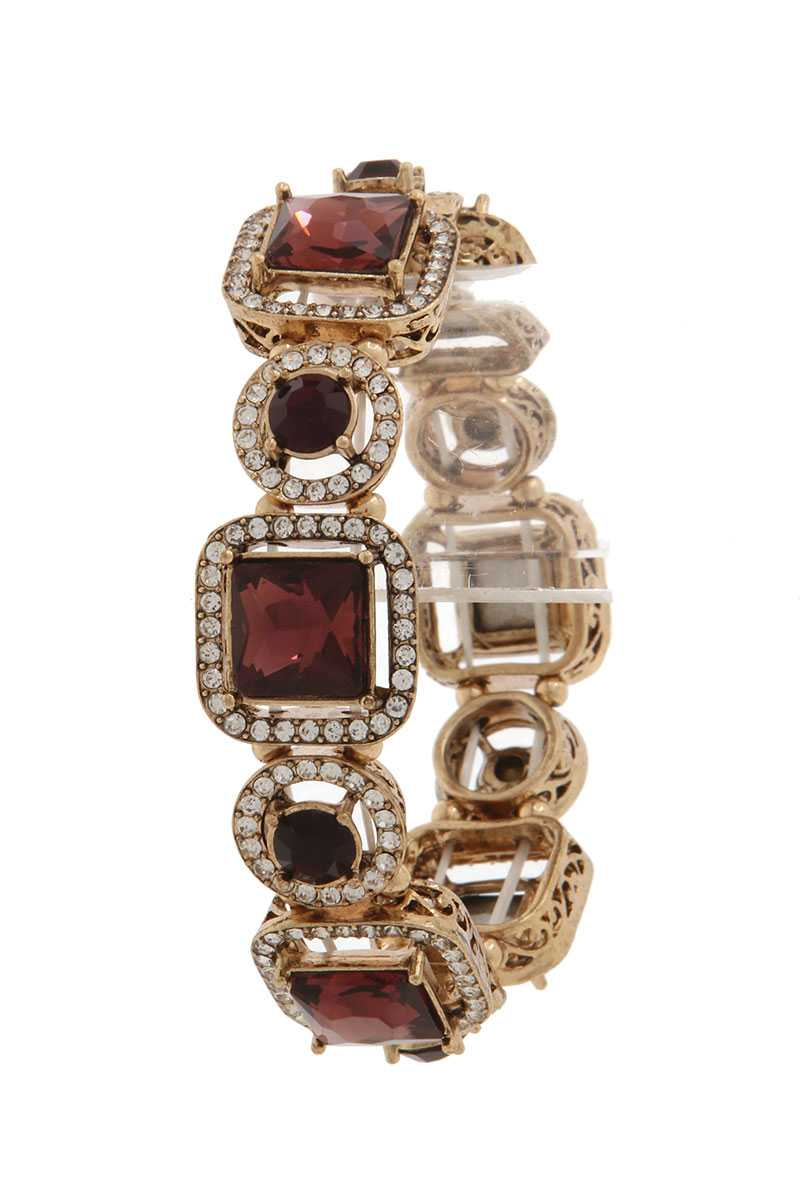 Square shape rhinestone stretch bracelet