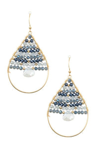 Wired bead gem accent teardrop dangle earring