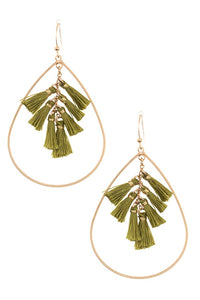 Multi tassel link teardrop dangle earring