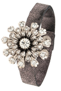 Crystal floral burst orante faux crackled leather bracelet