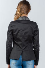 Load image into Gallery viewer, Ladies fashion black studded double-button blazer