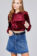 Load image into Gallery viewer, Ladies fashion long sleeve hoodie w/drawstring ice velvet crop top
